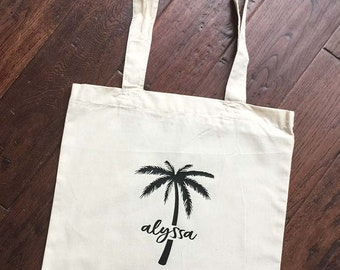 Palm Tree Bachelorette - Personalized Welcome Tote - Bachelorette Gift bag