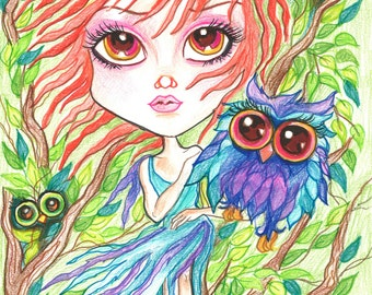 Fantasy Art Printable Page - Digital Download - Fantasy Art - Red Haired Girl and The Owls by Leslie Mehl Art