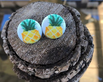 Pineapple Fabric Button Earring