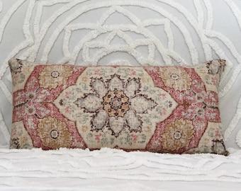 Pink lumbar pillow, Moroccan decor, pillow with feather filling, pink linen cushion, long floral pillow, boho decor, flower cushion, blush