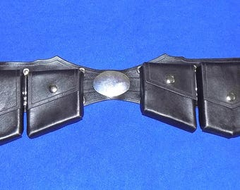 Leather Super Hero or Super Villain Utility Belt with Oval Buckles
