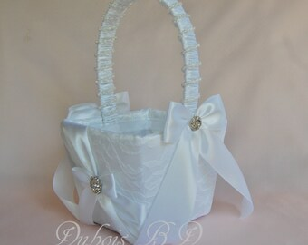 Flower girl basket, Ivory or White  flower girl basket, Wedding basket, Lace flower girl basket, Wedding decorations