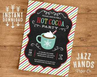 Hot Cocoa Party Invitation Template | DIY Printable | Hot Cocoa Bar Invitation | Hot Chocolate Invitation | Holiday or Winter Party