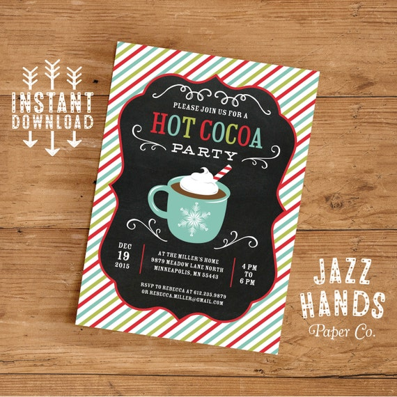 Hot Cocoa Party Invitation Template DIY Printable Hot - Party invitation template: winter party invitation template free