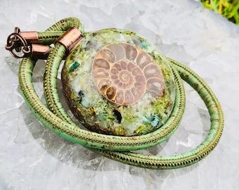 Orgonite® Orgone Pendant (Large) - Turquoise/Peridot/Green Aventurine/Emerald/Ammonite - FREE WORLDWIDE SHIPPING!