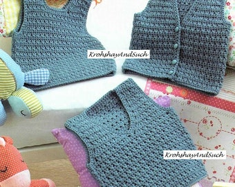 Baby Waistcoat And V Neck Round Neck Slip Over, Crochet Pattern. PDF Instant Download.