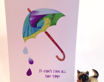 Iris folded scene greeting card (printed) - it can't rain all the time (umbrella)