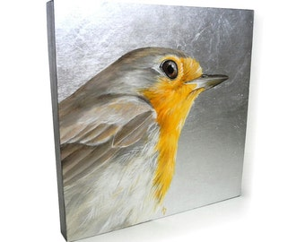 English Robin painting - European robin redbreast - metallic silver - bird portrait - woodland glam - songbird painting - square art