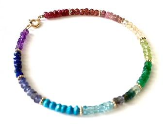 Rainbow Gemstone Bracelet. Boho Chic Rainbow Genuine Gemstones Gold Bracelet. Rainbow Gemstones and Gold Bali Beads Bracelet. Gift Under 100
