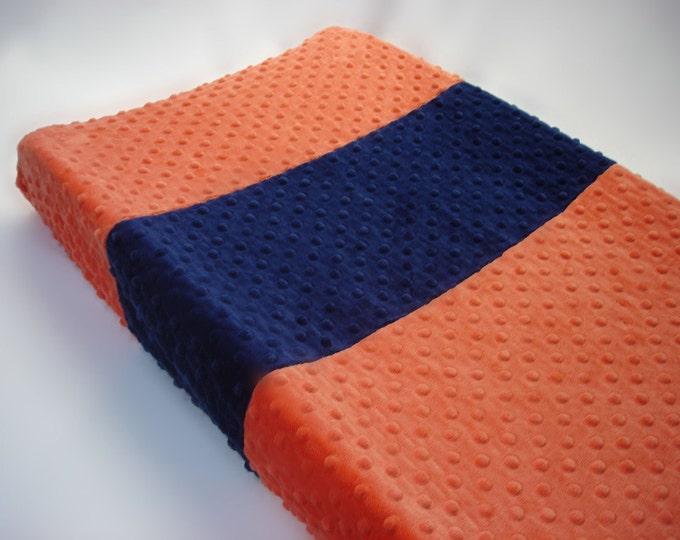 Papaya Orange Changing Pad Cover with Stripes
