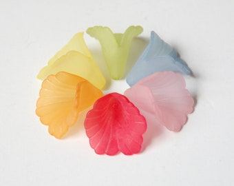 25 Frosted Ruffled Trumpet Bell Flower beads acrylic colorful assorted mix 19x17mm frosted lucite PL551M