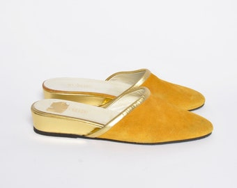 Suede Flat Mules / Vintage Yellow Suede Slippers with Gold Trim