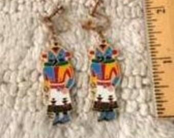 Earrings Cloissone Kachina Dancers