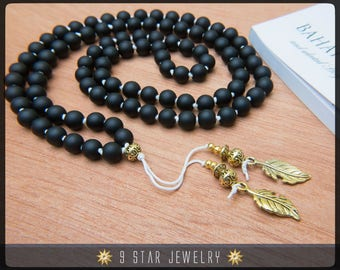 "Matte Black Hand Knotted Baha'i Prayer Beads - Full 95 (Alláh-u-Abhá) ""Asmita""- BPB66"