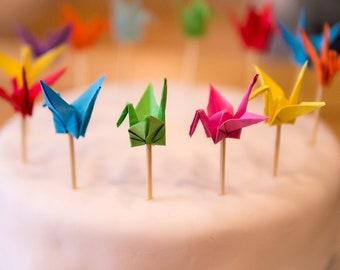 Origami crane cake/cupcake/muffin topper decoration - set of 5 or 10