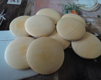 16 Pcs 30mm Natural Wood Circles Wooden discs Unfinished round disk No hole & No Varnish (W049)