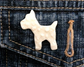 Westie dog brooch, Scottie dog brooch, Westie dog pin, Scottie dog pin, gift for dog lover, dog lover gift, gift for her, lucky charm dog