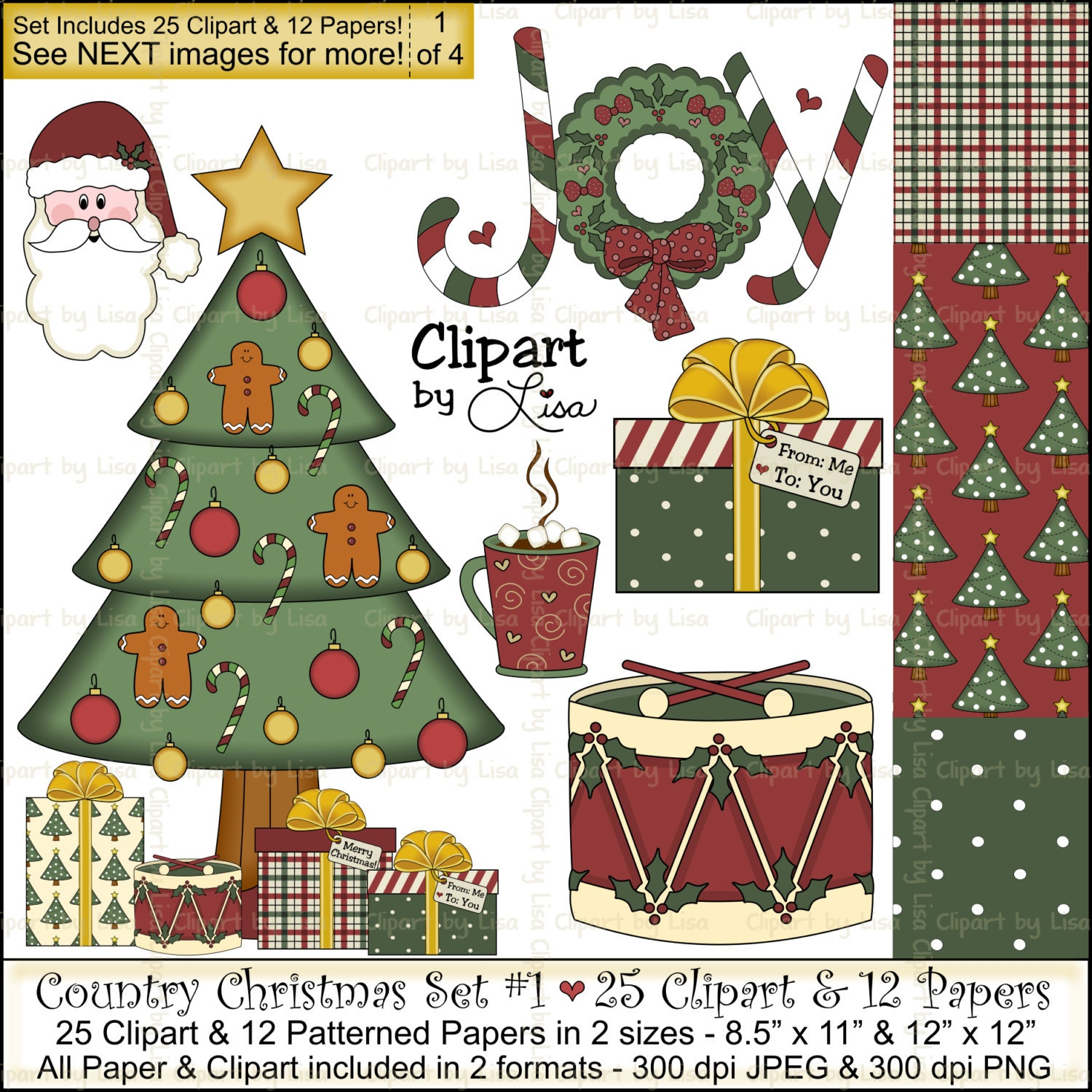 Country Christmas Clip Art & Papers Set 1