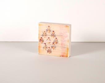 BEES Art Block, Art Blocks, Boho Art, Wood Printing, Wood Block Art, Small Art, Wood Print, Bee, Honey Bee, Queen Bee