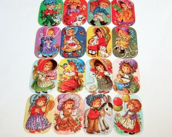 1970s Kitsch Children Paper Scraps - Vintage Die Cut Scrap Sheet with Cute Holly Hobbie Style Girls and Boys