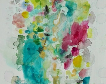 Watercolor painting in bright colors on paper. Pink and turquoise