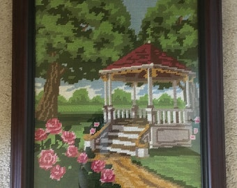 framed needlepoint  gazebo