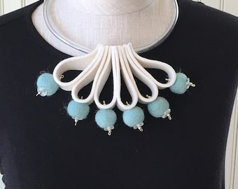 White felt loops with aqua felt balls statement necklace