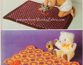 Vintage knitting and Crochet baby blanket Patterns PDF B110 from WonkyZebra