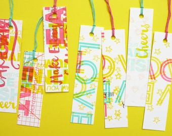 Bright and Colourful Recycled Letterpress Bookmark