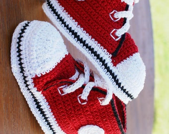 Red Converse Thread Crochet Baby Shoes