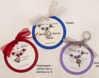 Customized Wedding Shower, Bachelorette Party, Wedding, Birthday Party Wine Charm Favors