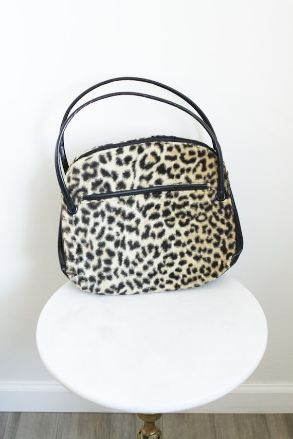 1960s lepoard print purse // 1960s fur purse // vintage purse