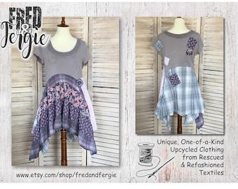 Upcycled Lagenlook Tunic Top Summer Small to Medium S-M, Boho, Shabby Chic, Hippie, Romantic, Artsy, Artwear, Sustainable, Eco Friendly