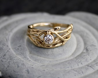 Ethical Canadian Diamond 14kt Yellow Gold Engagement Branch Twig Organic Ring, rustic love, engagement ring, NWT diamond, nature wedding
