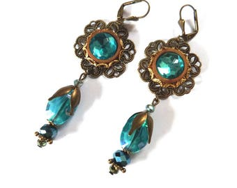 Romantic earrings in blue and bronze with turquoise glass beads