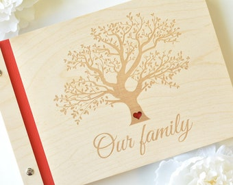 personalized wood photo album / family album / wedding album/ baby album / engraved / Photo Guest Book / Photo album