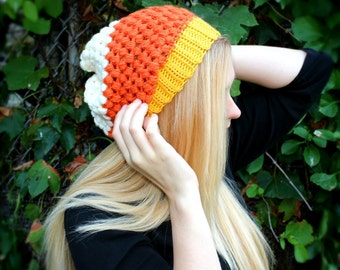 Slouchy Candy Corn Beanie, Fall, Slouchy Beanie,FAST shipping,LIMITED EDITION. Candy Corn Hat, Halloween costume, Slouch Hat,Slouch Beanie