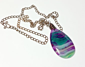 Handmade Multi Gemstone Necklace with Red Copper wire link chain gift for her handmade jewellery