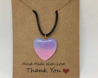 Glitter Heart Pendant Leather Wax Rope Necklace