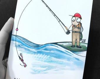"Bob Fly Fishing Cartoon Series Squirm Art Print 5""x7"""