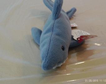 "TY Beanie Baby Crunch Shark Plush Blue Retired 10/"" Kids Toy Rare Fun White Ocean"