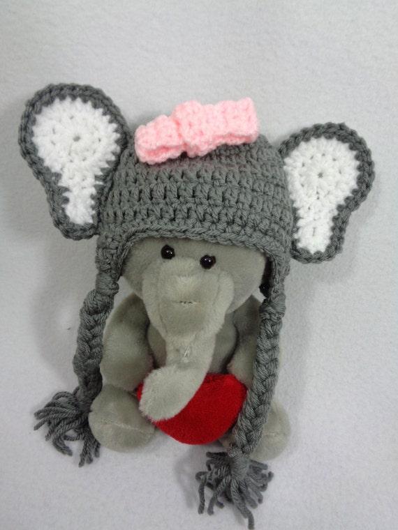 Grauer Elefant Beanie Mütze häkeln Baby Dschungel Tier Hut