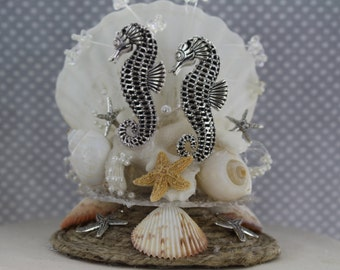 Seahorse Cake Topper/ Beach Wedding/ Beach Wedding Cake/ Destination Wedding / Seashell topper / Starfish Theme Wedding
