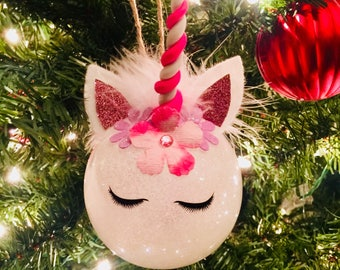 Sleepy Eyes Unicorn Ornament