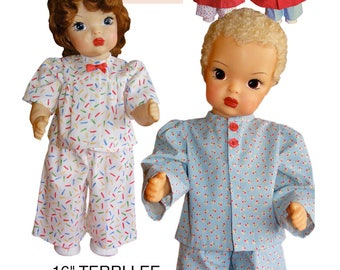 """Terri and Jerri Lee Sewing Patterns for 16"""" Doll: Pajamas, Robe & Slippers"""