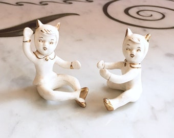 Vintage 50s Pixie Kitty Cat Candle Huggers Climbers 1950s Figurines White Gold Made In Japan