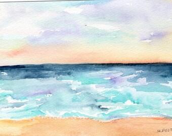Florida Sunset Beach Seascape Watercolor Painting original, ocean art 5 x 7 watercolors paintings of sunset at beach, beach watercolor art