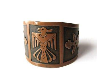 wide vintage copper cuff bracelet, Thunderbird bracelet .  Story Teller cuff bracelet, southwest motif solid copper