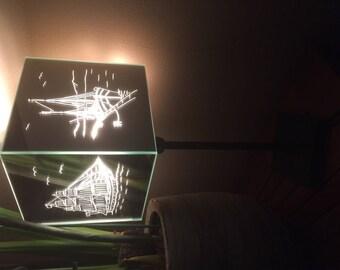Lamp, mirror, engraved, sea theme!