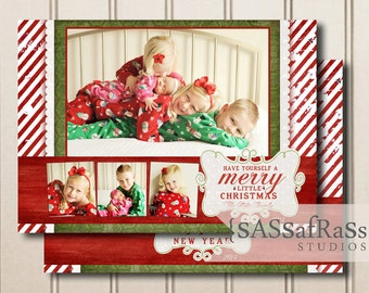 Merry Little Christmas--Christmas Card Template, Adobe Photoshop File, Photographer template, Commercial Use